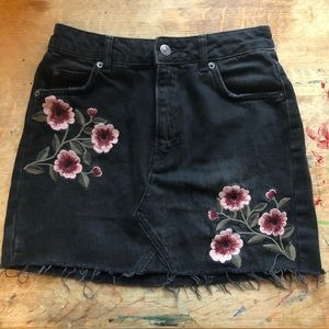 Black Jean Skirt with Embroidered Flowers